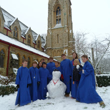 Choir with snowman