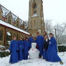 Choir with snowman